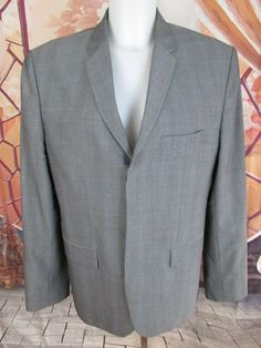 Excellent Calvin Klein Sim Fit Men's Gray Herringbone Jacket Size M #CalvinKlein #ThreeButton