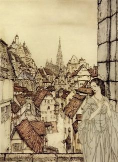 Arthur Rackham: Ligeia from his illustrations to the tales of E.A. Poe