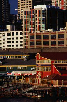 Photographic Print: Buildings on Pier Seattle, USA Poster by Richard I'Anson : Seattle Washington, Washington State, Yosemite National Park, National Parks, Seattle Photography, Us Road Trip, Seattle Area, Emerald City, Boat Plans