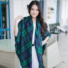 Green Blue Raw Edge Trims Plaid Shawl Desinger by boutiqueforyou