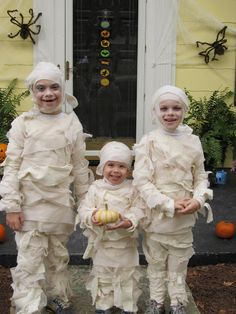 "Kids Homemade Halloween Costume - Mummies... Long underwear, hot glue, 2-3"" strips cut from old window sheers. Hot glue strips randomly from seam to seam (don't wrap), front and back - www.ctbakerintheacres.com"
