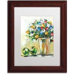 Trademark Fine Art Spring Flowers in a Vase 5 inch Canvas Art by Hai Odelia, White Matte, Wood Frame, Size: 16 x 20, Multicolor