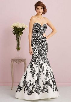 Allure Romance black and white lace wedding dress / http://www.himisspuff.com/black-wedding-dresses/3/