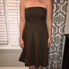 Brown J.Crew strapless cotton dress Brown cotton J.crew dress.  Size 2.  Strapless J. Crew Dresses Mini