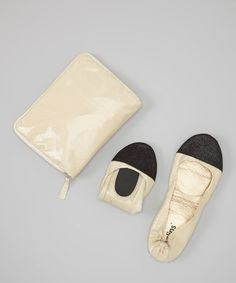 Love this Tan Snakeskin Foldable Ballet Flat & Carrying Case by CitySlips on #zulily! #zulilyfinds