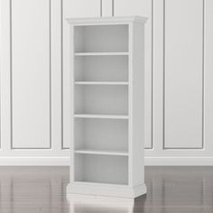 Shop Cameo White Open Bookcase.   The four-shelf open bookcase coordinates with the media storage pieces and closed bookcase for the look of a custom built-in.  The Cameo White Open Bookcase is a Crate and Barrel exclusive.