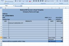 medical bill format in excel template xls