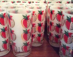 Vintage Strawberry Glasses Georges Briard Eames Era QTY - 5