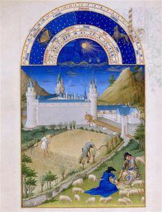 Le mois de juillet. Jean et Hermann Limbourg. Les Très Riches Heures du duc de Berry (1411-1416) le Calendrier.