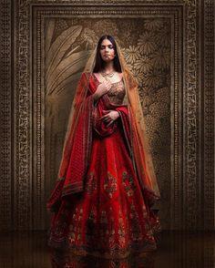 Weddig Bridal Lehenga - Bride in Red and Gold Saree Lehenga. Wedding Lehenga Designs, Designer Bridal Lehenga, Indian Bridal Lehenga, Indian Bridal Outfits, Indian Bridal Fashion, Indian Fashion Dresses, Indian Designer Outfits, Gold Lehenga, Lehenga Choli