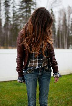 Brunette & Caramel Ombré Hair.