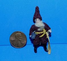 Antique Germany Hertwig Crochet Santa Gnome Jointed Bisque Doll Carl Horn