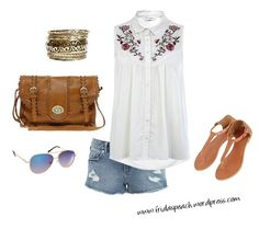 Patio barbeque, og how I love summer! Cute outfit with shirt, shorts, aviators, sandals, bangels & a satchel.