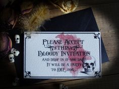Halloween Blood and Skull Invitation DIGITAL by damnfrenchdesserts, $5.75