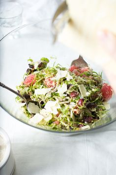 Shaved Brussel Sprout Slaw with Pink Grapefruit and a Maple Cider Vinaigrette | Flourishing Foodie