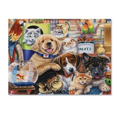 Trademark Art 'Pet Shop' by Jenny Newland Painting Print on Wrapped Canvas Size: