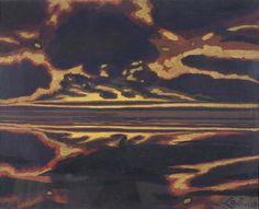 Léon Spilliaert (Belgian, 1881-1946), Grande marine avec coucher de soleil [Seascape with setting sun], 1922. Gouache on paper, 71 x 90 cm. Private collection.