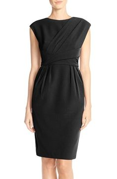 Adrianna Papell Pleated Crepe Sheath Dress (Regular & Petite) available at #Nordstrom