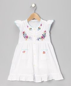 White Embroidered Santy Dress - Infant, Toddler & Girls | Daily deals for moms, babies and kids