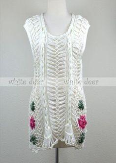 Crochet Long Dress Floral - SEM GRAFICO