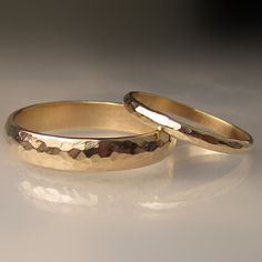 Gold Wedding Band Set Recycled 10k Yellow Gold 4mm by JanishJewels