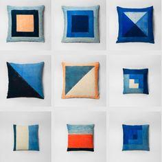 Naomi Paul Textiles - upper left pillow, center pillow, bottom middle pillow