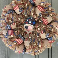 Fourth Of July, 4th Of July Wreath, Blue And Silver, Red And White, Wire Wreath, Patriotic Decorations, Deco Mesh Wreaths, How To Make Bows, Red Stripes