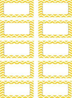 ... Yellow Chevron Labels, Printable PDF, Editable Labels, Editable PDF