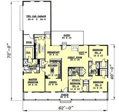 Country Style House Plans - 2188 Square Foot Home , 1 Story, 4 Bedroom and 3 Bath, 2 Garage Stalls by Monster House Plans - Plan 49-152