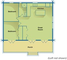 basic cabin floor plan perfect just needs a utility room and big closet behind the kitchen/bathroom/bedroom.