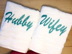WIFEY & HUBBY Towel Set Embroidered His and Her Couples Set