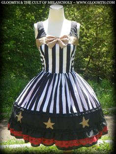 Gloomth Star Circus dress black white stripes YOUR SIZE bow lolita goth gothic !