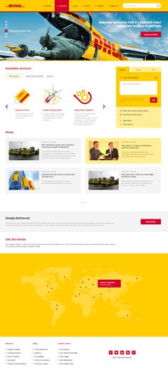 DHL website redesign / modern / clean / bold / yellow / red / photography / illustration / flat