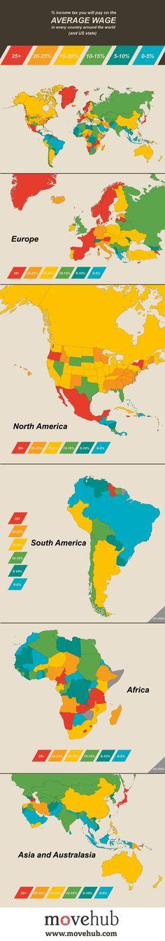 Mapamundi de la carga fiscal sobre el salario medio vía www.movehub.com #infografia #infographic