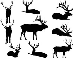 Elk Silhouettes Clipart, Graphic Digital Vector Instant Download, Commercial and Personal Clip Art - Deer