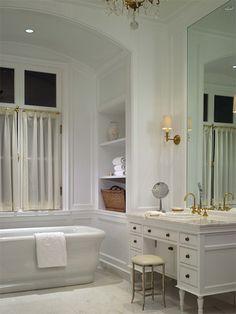 Free standing tub, dressing area with sink, brass hardware- William B. Litchfield