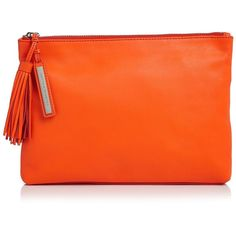 Loeffler Randall Tassel Clutch ($175) ❤ liked on Polyvore featuring bags, handbags, clutches, tangerine, leather purse, special occasion clutches, orange leather handbag, leather clutches and oversized handbag