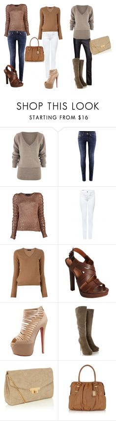 """""""Brown Outfits"""" by lcooley14 ❤ liked on Polyvore featuring H&M, rag & bone, True Religion, Dsquared2, Bottega Veneta, Christian Louboutin, Timeless, Oasis and Badgley Mischka"""