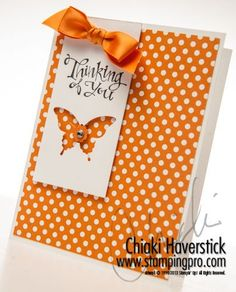 A very simple card using our Polka Dot Parade DSP in Pumpkin Pie. It would look good in any of the colors contained in the pack of papers.  Sassy Salutations stamp set; Elegant Butterfly punch and Itty Bitty Shapes punches; Retired Pumpkin Pie Satin ribbon.