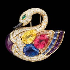Superb Bulgari Precious Gems Gold Swan Brooch | From a unique collection of vintage brooches at https://www.1stdibs.com/jewelry/brooches/brooches/