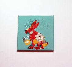 Easter Bunny Magnet, Fridge magnet, Easter magnet, blue, Easter basket gift, Easter gift, Rabbit, floral, blue, pink, rabbit magnet (7392) by KellysMagnets on Etsy