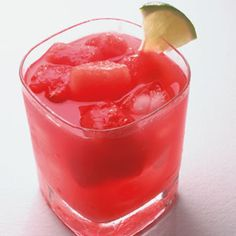 Watermelon Gin Fizz:  5 cups diced watermelon (divided), 6 oz gin (divided), 8 tablespoons lime juice (divided), 1.33 cups ginger ale (divided), Lime wedges for garnish.  Freeze 1 cup watermelon for garnish. Puree the remaining 4 cups watermelon. Strain; divide the juice among 4 ice-filled glasses. Top each with 1 1/2 ounces gin, 2 tablespoons lime juice, and 1/3 cup ginger ale. Garnish with the frozen watermelon and lime wedges. Nonalcoholic variation: Omit the gin.