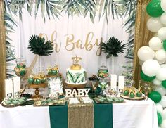 Take a look at this stunning Safari themed Baby Shower! See more party ideas and Schauen Sie sich diese atemberaubende Safari-Babyparty an! Safari Baby Shower Cake, Deco Baby Shower, Baby Shower Backdrop, Gold Baby Showers, Shower Party, Baby Shower Parties, Baby Boy Shower, Safari Baby Showers, Jungle Theme Baby Shower