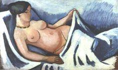 'liegend weiblicher akt' von August Macke (1887-1914, Germany)