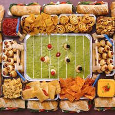 10 Football-Theme Snacks Better Than the Big Game Turn your ordinary buffet table into a Super Bowl-worthy display with this Inflate Football Buffet Cooler. Just add ice to keep your game day beverage . Super Bowl Party, Party Trays, Snacks Für Party, Game Night Snacks, Party Food Platters, Party Buffet, Super Bowl Essen, Charcuterie Recipes, Party Spread