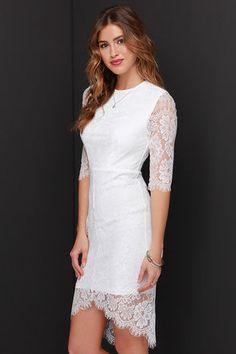 Pretty White Dress - Lace Dress - Bodycon Dress - Little White Dress - $49.00