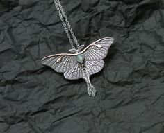Luna Moth Necklace - Mixed Metal Butterfly Necklace - Moonstone Necklace