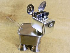 jewelry box robot dog - TRINKET - assemblage dog sculpture - recycled materials - Reclaim2Fame on Etsy, $98.00