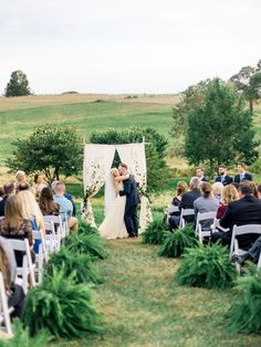 This is one of the most pinned weddings in this category. Venue: Glen Ellen Farm - Wedding Dress: Leanne Marshall - Photography: Julie Cate Photography - Read More on SMP: Wedding Ceremony Ideas, Fern Wedding, Wedding Isles, Wedding Tips, Wedding Venues, Wedding Photos, Wedding Planning, Dream Wedding, Church Wedding