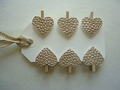 12 Mini Clothes Pins With Pebbled Gold Paper Heart by SweetThymes, $6.00